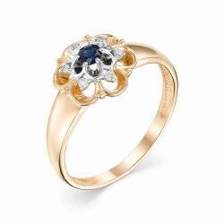 Женское золотое кольцо (Сапфир, Бриллиант)