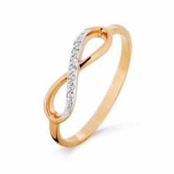 Золотое кольцо Бесконечность с фианитами