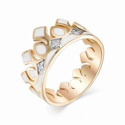 Женское золотое кольцо в виде короны (Эмаль, Бриллиант)