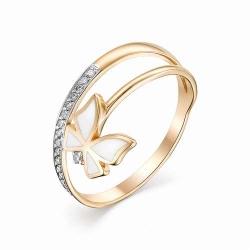 Женское золотое кольцо Бабочка (Эмаль, Бриллиант)