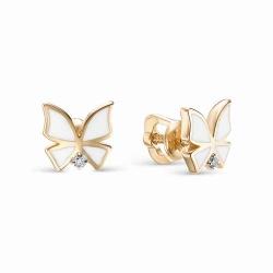 Золотые серьги-гвоздики с бабочками (Эмаль, Бриллиант)