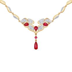 Золотое колье Цветы с рубином ГТ, фианитом SOKOLOV