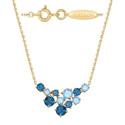 Колье из золота с голубыми и синими топазами