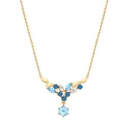 Колье из золота с голубыми синими топазами и фианитами