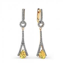 Золотые серьги с цитрином и бриллиантом