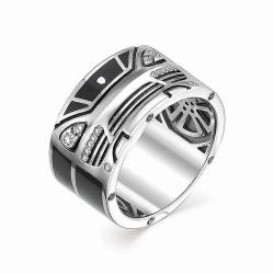 Мужское кольцо Машина из белого золота (Эмаль, Бриллиант)