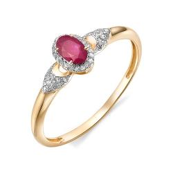 Женское золотое кольцо (Рубин, Бриллиант)