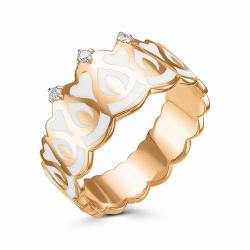 Женское золотое кольцо с коронами (Эмаль, Бриллиант)