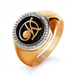 Мужское золотое кольцо с эмалью и бриллиантом