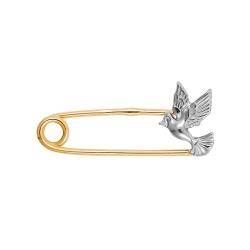 Брошь-булавка Птичка из красного золота с фианитом