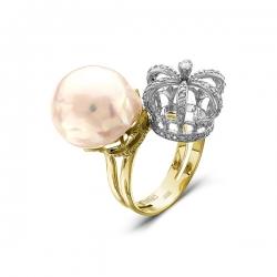 Эксклюзивное кольцо из жёлтого золота с бриллиантами и жемчугом Барокко