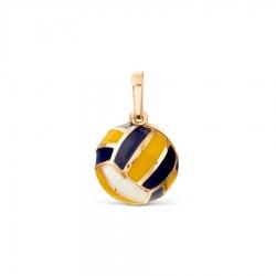Золотая подвеска Мяч с эмалью