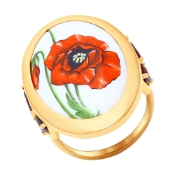 Золотое кольцо «Мак» (Гранат) SOKOLOV