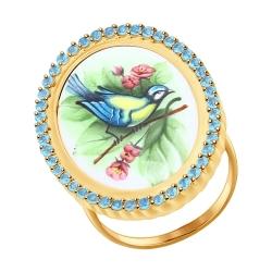 Золотое кольцо с птицей (Топаз) SOKOLOV