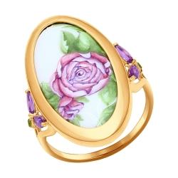 Золотое кольцо с цветами (Аметист, Хризолит) SOKOLOV