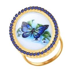 Золотое кольцо Бабочки(ГТ сапфир) SOKOLOV