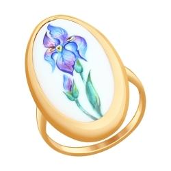 Золотое кольцо Ирис (Финифть) SOKOLOV