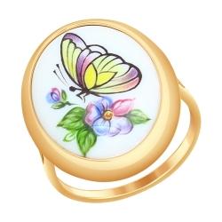 Золотое кольцо Бабочка с финифтью SOKOLOV