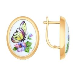 Золотые серьги Бабочка с финифтью SOKOLOV