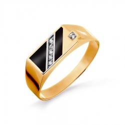 Золотая печатка с эмалью, фианитами