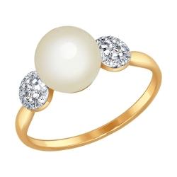Золотое кольцо (Фианит, Жемчуг пресноводный) SOKOLOV