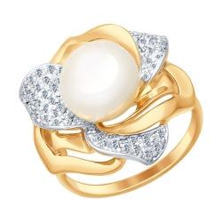Золотое кольцо Роза(Фианит, Жемчуг пресноводный) SOKOLOV