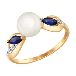 Золотое кольцо (Фианит, Корунд, Жемчуг пресноводный) SOKOLOV
