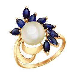 Золотое кольцо (Корунд, Жемчуг пресноводный) SOKOLOV