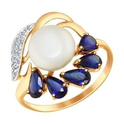 Золотое кольцо Цветок (Жемчуг пресноводный, Корунд, Фианит) SOKOLOV