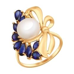 Золотое кольцо с бантом (Корунд, Жемчуг пресноводный) SOKOLOV
