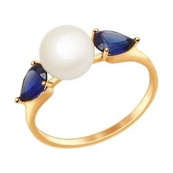 Золотое кольцо (Жемчуг пресноводный, Сапфир ГТ) SOKOLOV