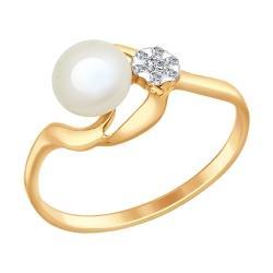 Золотое кольцо (Жемчуг пресноводный, Фианит) SOKOLOV