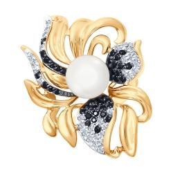 Золотое кольцо с жемчугом и бесцветными и чёрными фианитами
