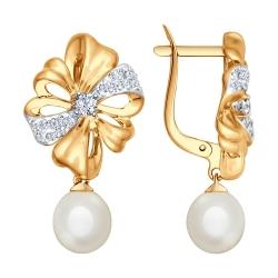 Золотые серьги Бантики с подвеской c белым жемчугом и фианитами