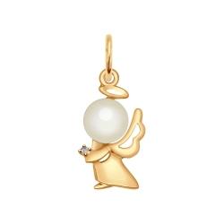 Золотая подвеска в виде ангела (Фианит, Жемчуг пресноводный) SOKOLOV