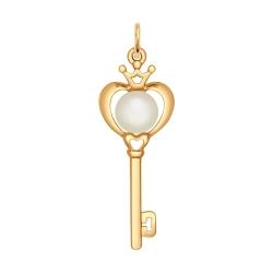Золотая подвеска Ключ (Жемчуг пресноводный) SOKOLOV