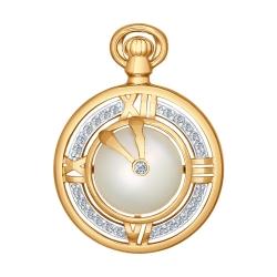 Золотая подвеска Часы (Фианит, Жемчуг пресноводный) SOKOLOV