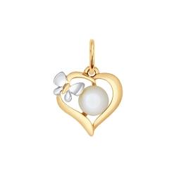 Золотая подвеска Сердце (Жемчуг пресноводный) SOKOLOV