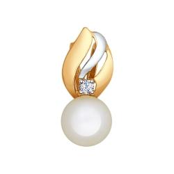 Золотая подвеска (Жемчуг пресноводный, Фианит) SOKOLOV