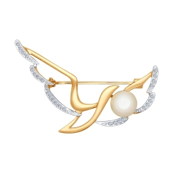 Золотая брошка Птица (Фианит, Жемчуг пресноводный) SOKOLOV