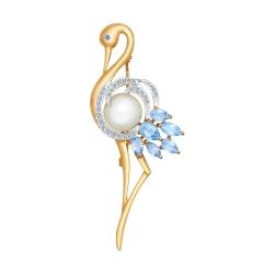 Золотая брошка Фламинго (Топаз, Фианит, Жемчуг пресноводный) SOKOLOV