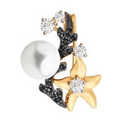 Брошь Морская звезда из золота с жемчугом и фианитами