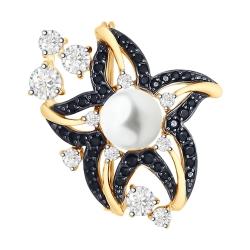 Брошь из золота Звезда с жемчугом бесцветными и чёрными фианитами