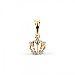 Подвеска Корона из желтого золота с бриллиантами