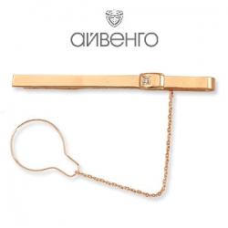 Золотой зажим для галстука с фианитом