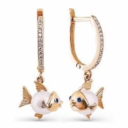 Золотые серьги Рыбки с белым жемчугом, фианитами