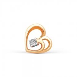 Золотая подвеска Сердце с бриллиантом