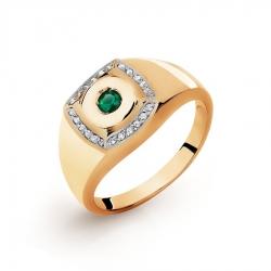 Золотое мужское кольцо с бриллиантами, ониксом