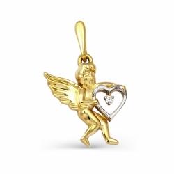 Подвеска  Ангел из желтого золота с фианитом