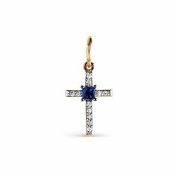 Золотой крестик с сапфиром, бриллиантами